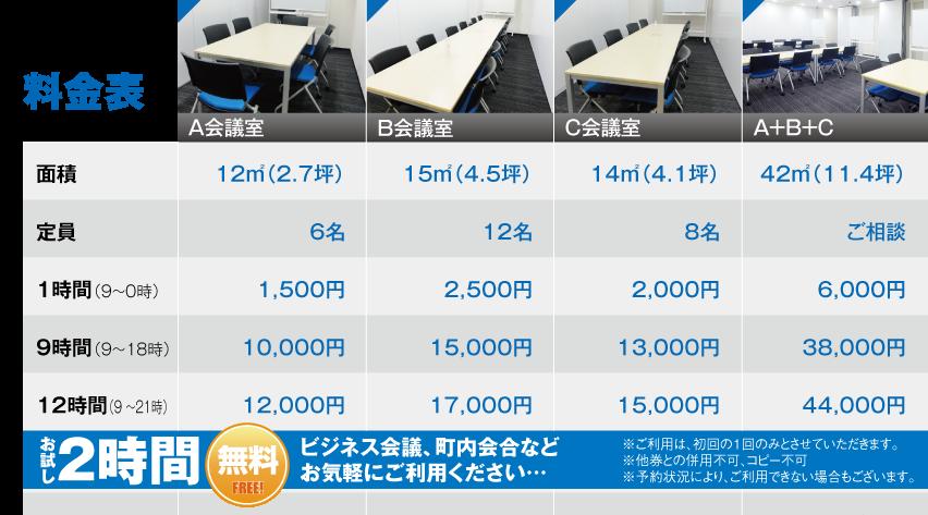 貸会議室価格表