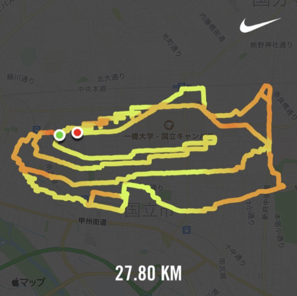 Nike エアズーム・アルファフライ Next%のランニングルート